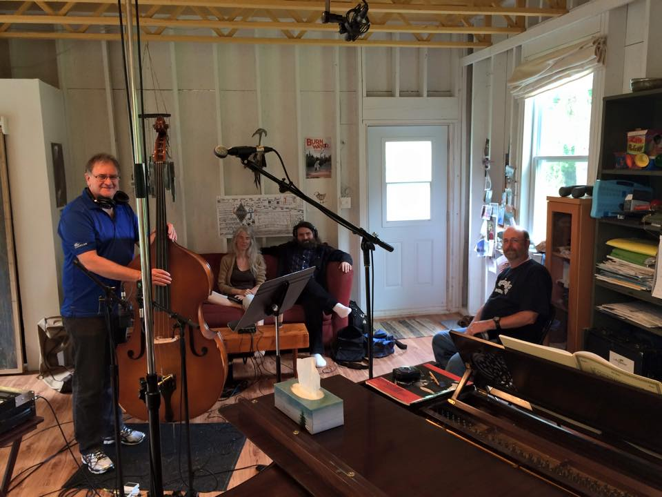 Recording session for second Papilio album with guest Allie Bennett, bass at Stonehouse Sound.