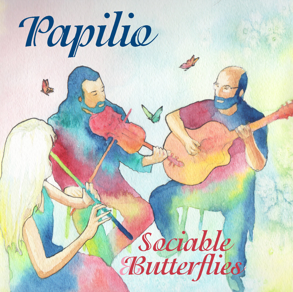 """Sociable Butterflies"" (2018). Album cover art by Colin Dorgan of  Refinelines ."