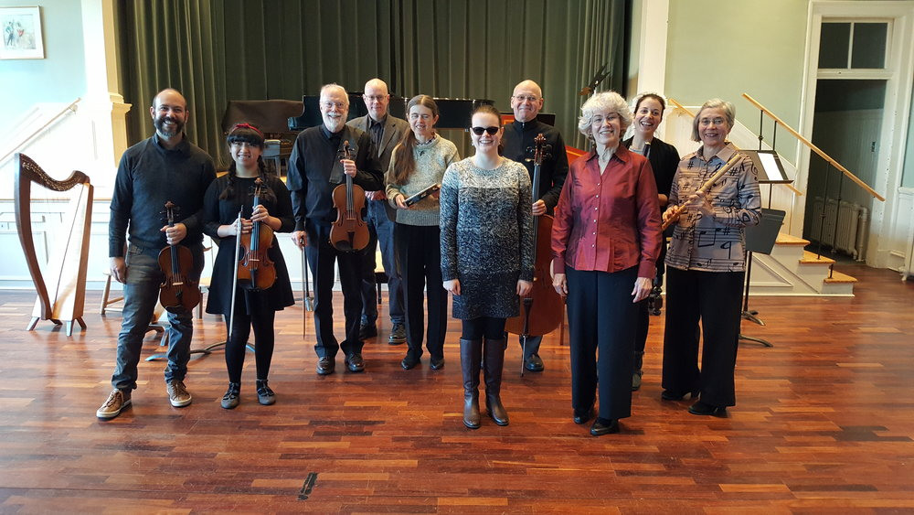 Most of the 2018-2019 Baroque Ensemble after performing pieces by Monteverdi at the Maritime Conservatory, Feb. 3, 2019