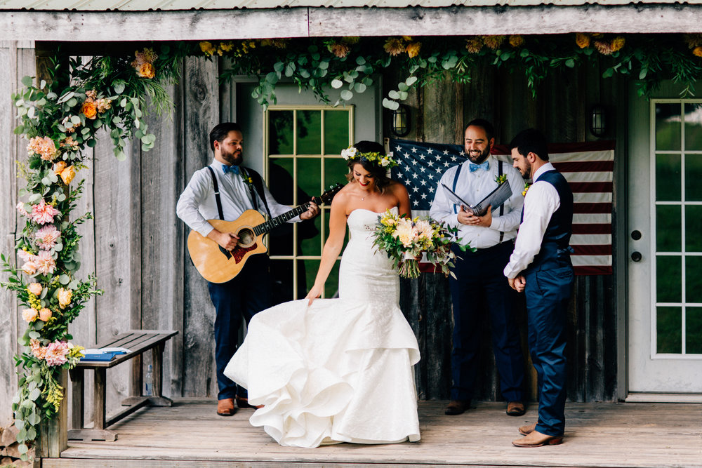 Julia & Albert   Oh my heart. We had the great pleasure of helping Julia achieve a perfect elopement! We loved creating a magical scene for their vows! We covered the porch in florals and greenery. The surprise flowed over to Silver Dollar with an intimate dinner party for their loved ones.