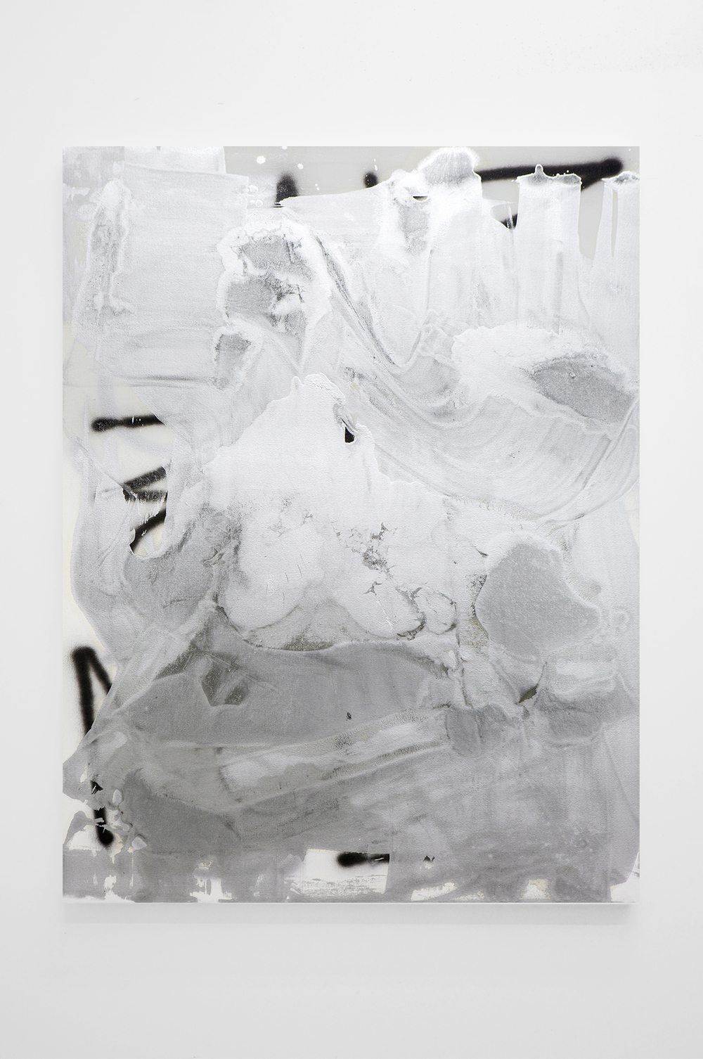 stefan bruggemann  puddle painting  aluminum paint, enamel on canvas  62 x 45 IN  2014