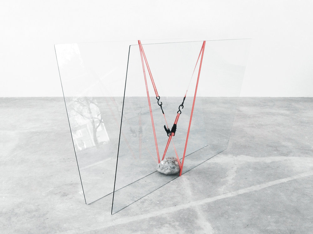 jose davila  joint effort  glass, rock, ratchet straps  variable dimensions  2014