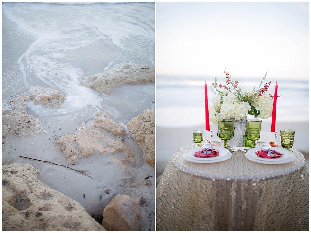 winter beach inspiration table details flowers @psjphotography