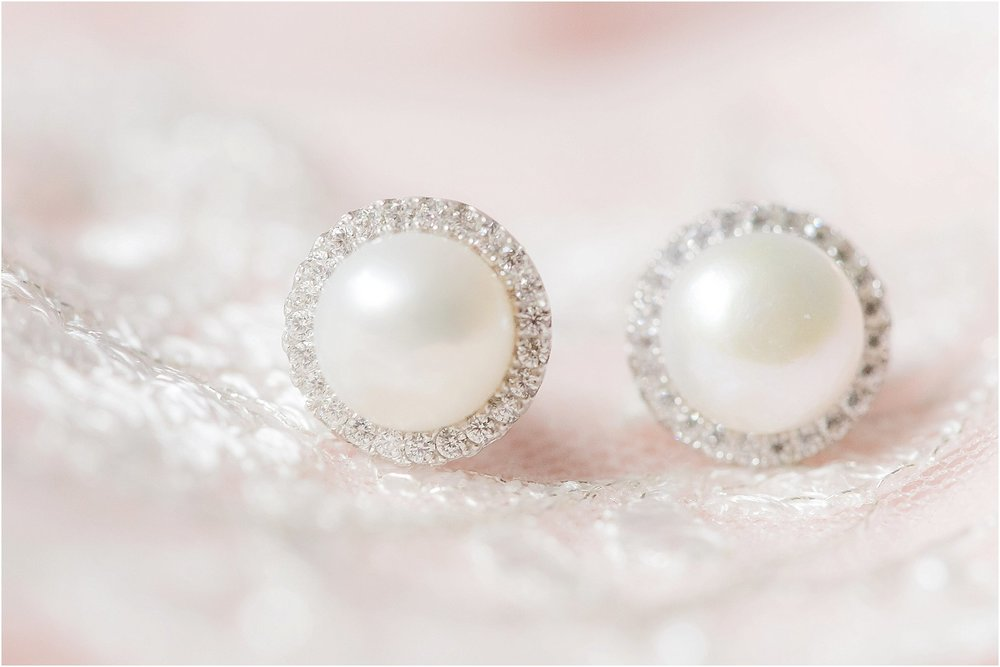 Blush rustic wedding pearl earrings on lace