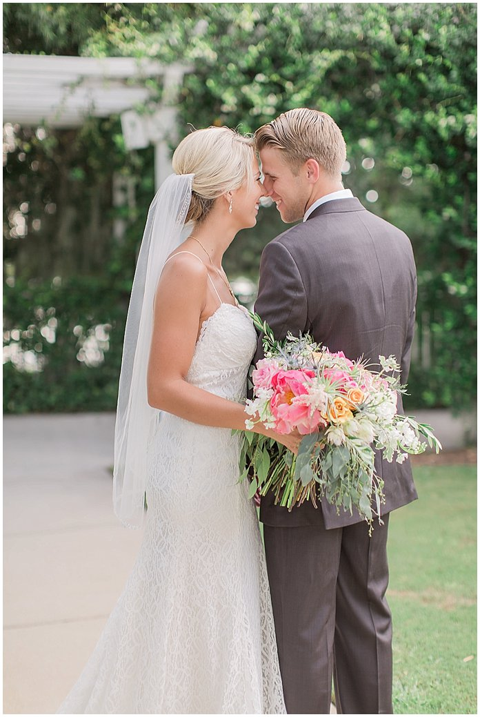 Romantic Bride and Groom portraits at Tiffany Blue Lake Mary Events Center Wedding