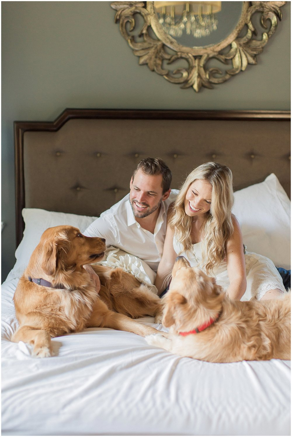 Puppy Engagement Session with Goldens