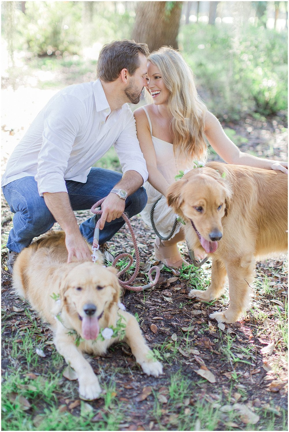 Two Golden Retrievers Puppy Engagement Session