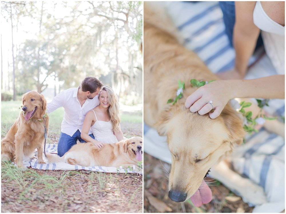Puppy Engagement Session with Striped Blanket and Floral Collars
