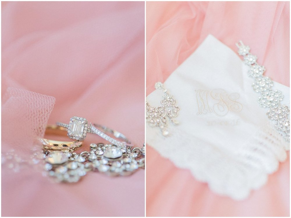 Blush Wedding Details of Emerald Cut Engagement Ring and Monogram Handkerchief