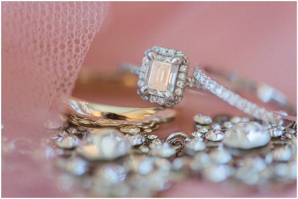 Emerald Cut Halo Engagement Ring and Diamond Wedding Band with Gold His Band
