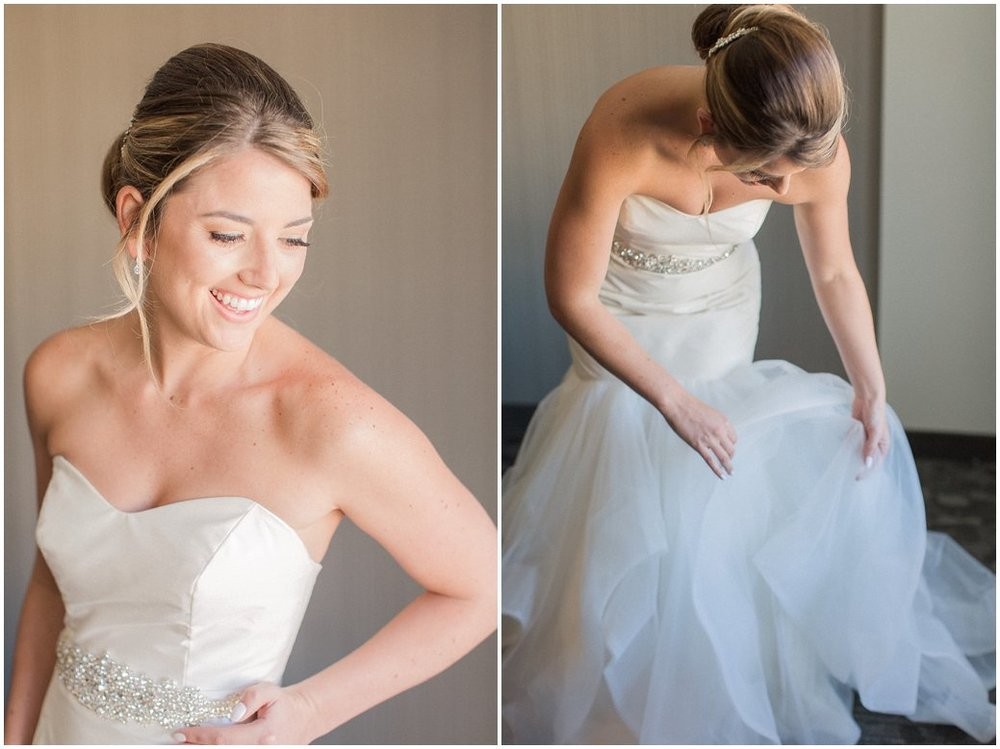 Bride Getting Ready Photos in Hayley Paige Gown with Low Bun