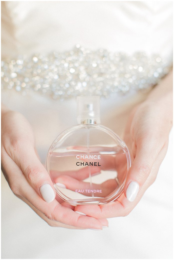 Bridal Details Chanel Chance Perfume with Hayley Paige Wedding Dress