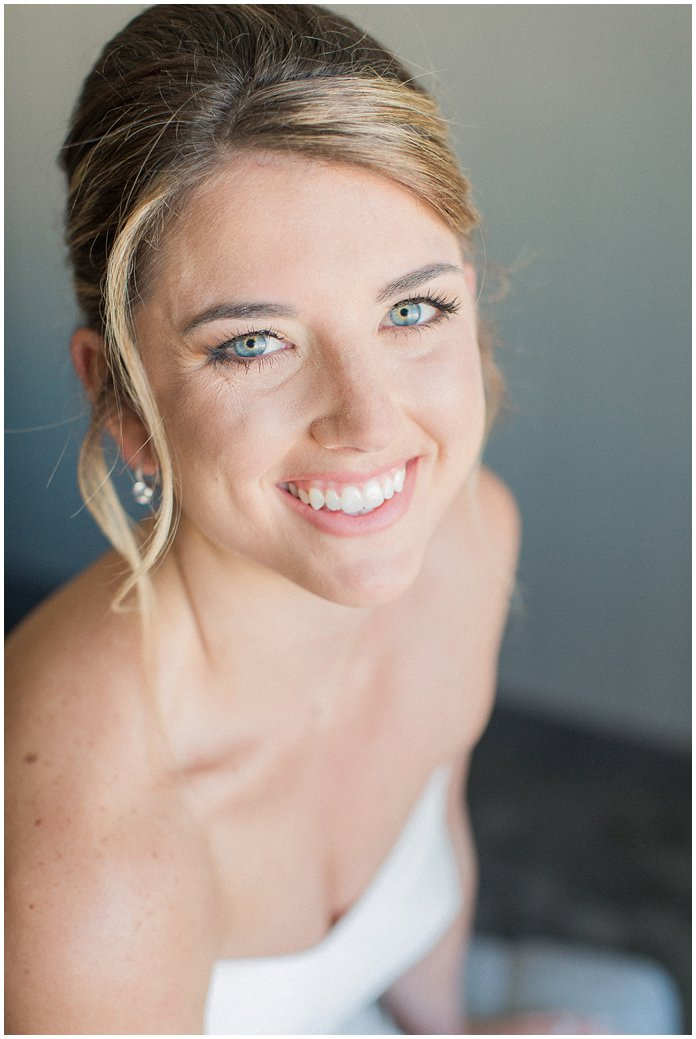 Gorgeous Bridal Portrait of Bride in Hayley Paige with Low Bun