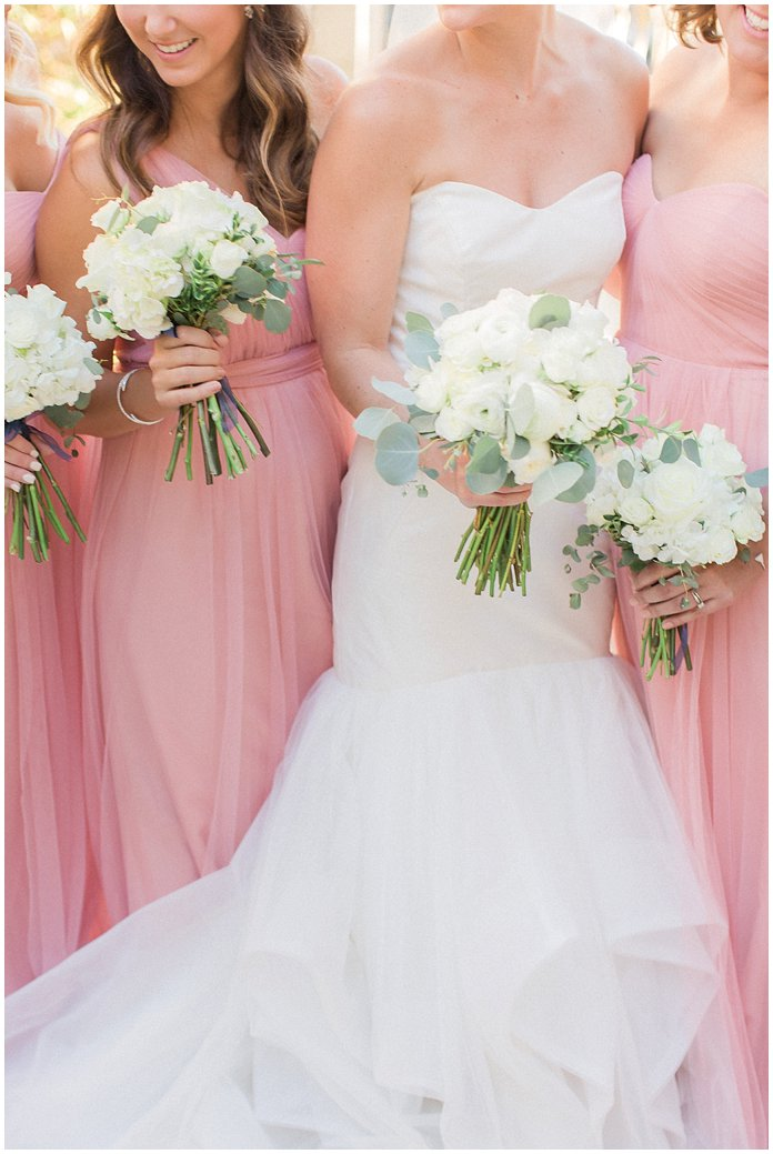 Blush Bridesmaids with White Peony and Ranunculus Bouquets