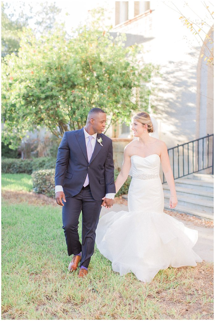 Bride and Groom Portraits in St Augustine at the River House.  Bride wearing Hayley Paige with low bun.