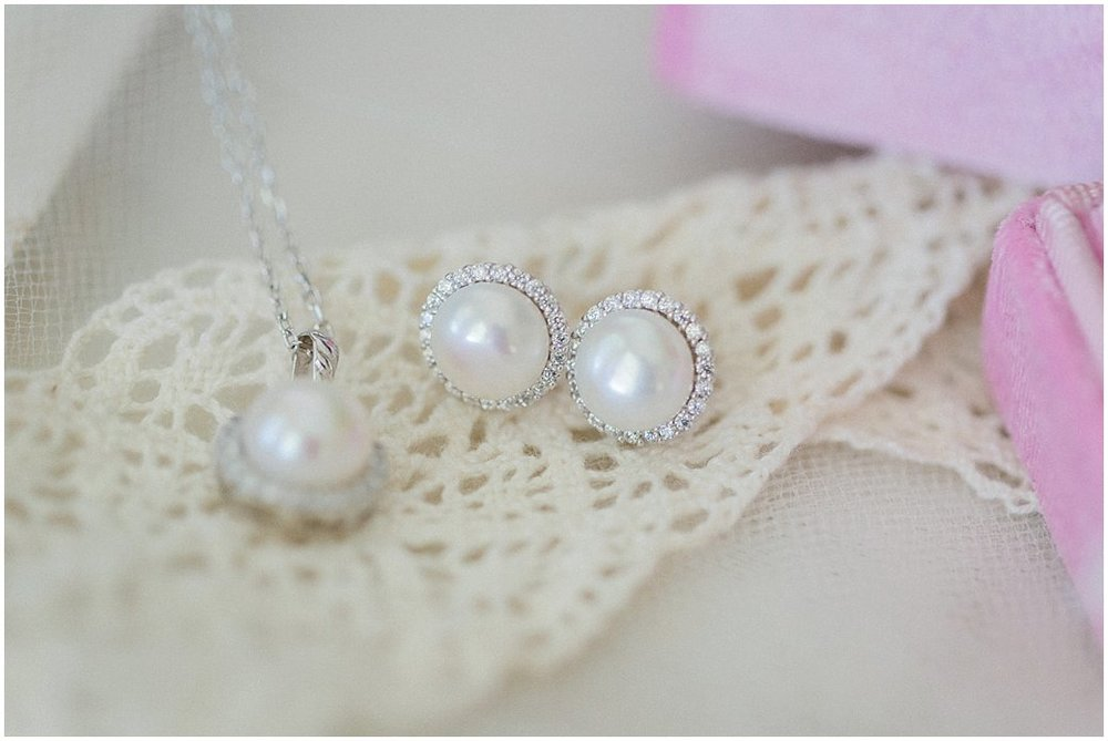 Bridal Jewelry of a Pearl Drop Necklace and Earrings
