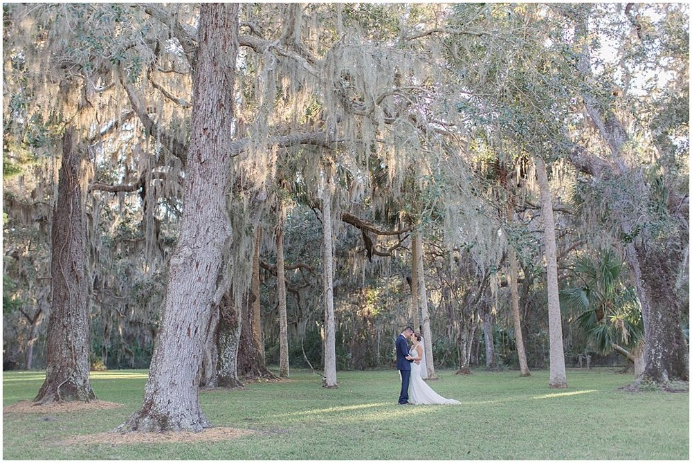 Bride and Groom Portraits in under Oak Trees and Palms