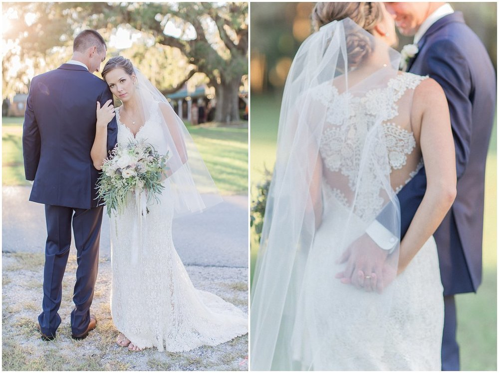 Bride and Groom Portraits at St Augustine Wedding with Romantic Light