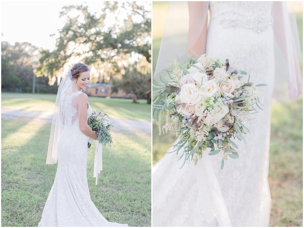 Bridal Portraits at St Augustine Wedding with Fall Mauve Bridal Bouquet