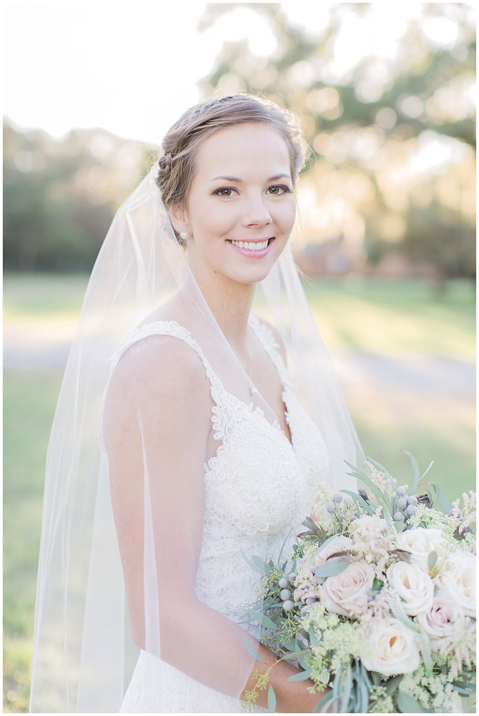 Gorgeous Bride in BHLDN gown with Organic Neutral Bouquet