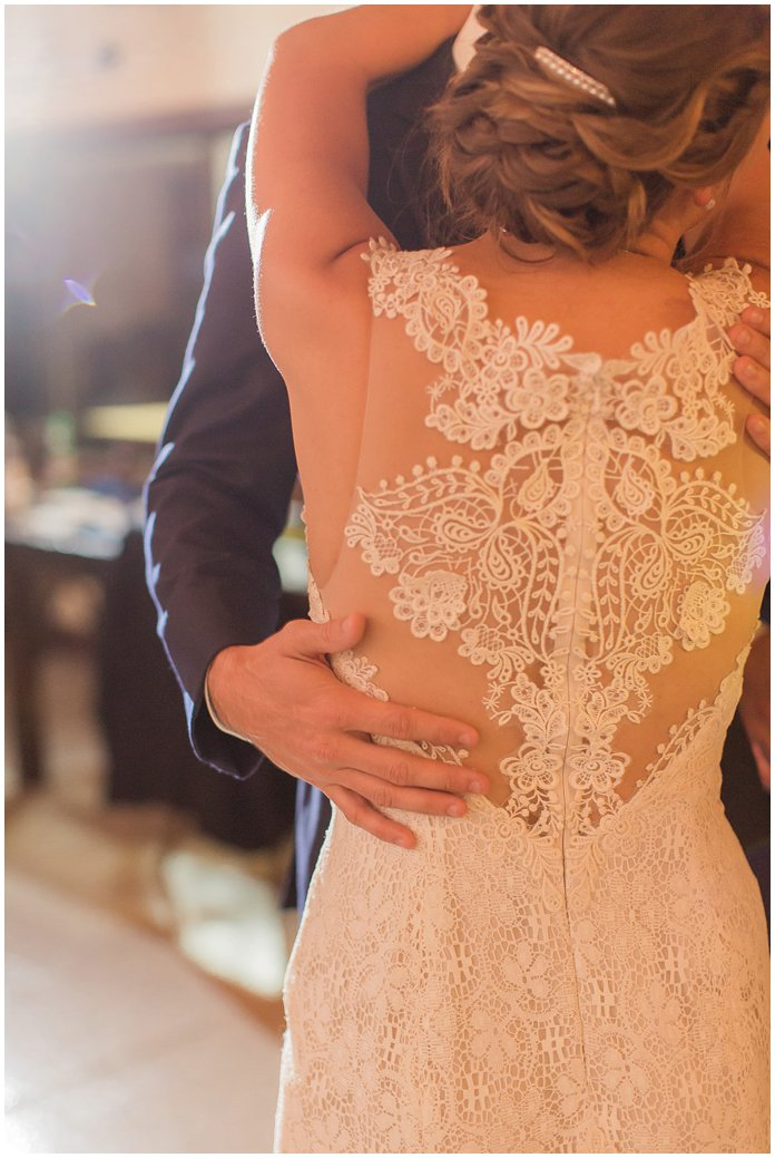 That Dress Back!  Love the lace of this BHLDN wedding gown during their first dance.