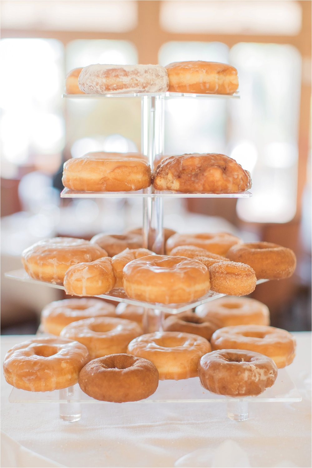Donut Tower on the cake table at Mission Inn Reception