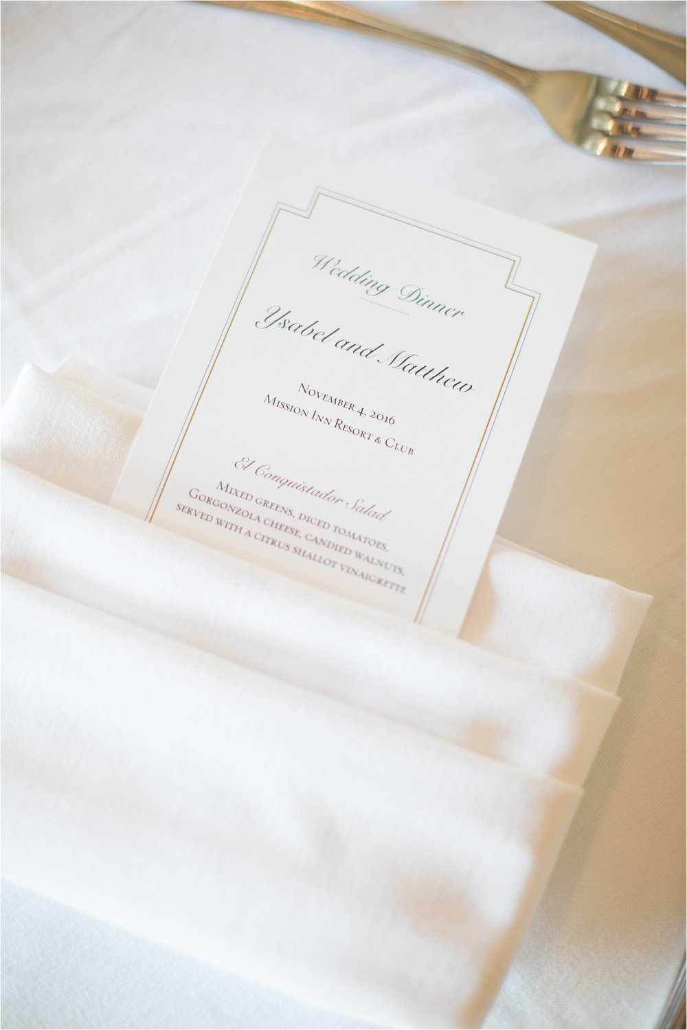 Lovely napkin details at reception at Mission Inn Wedding