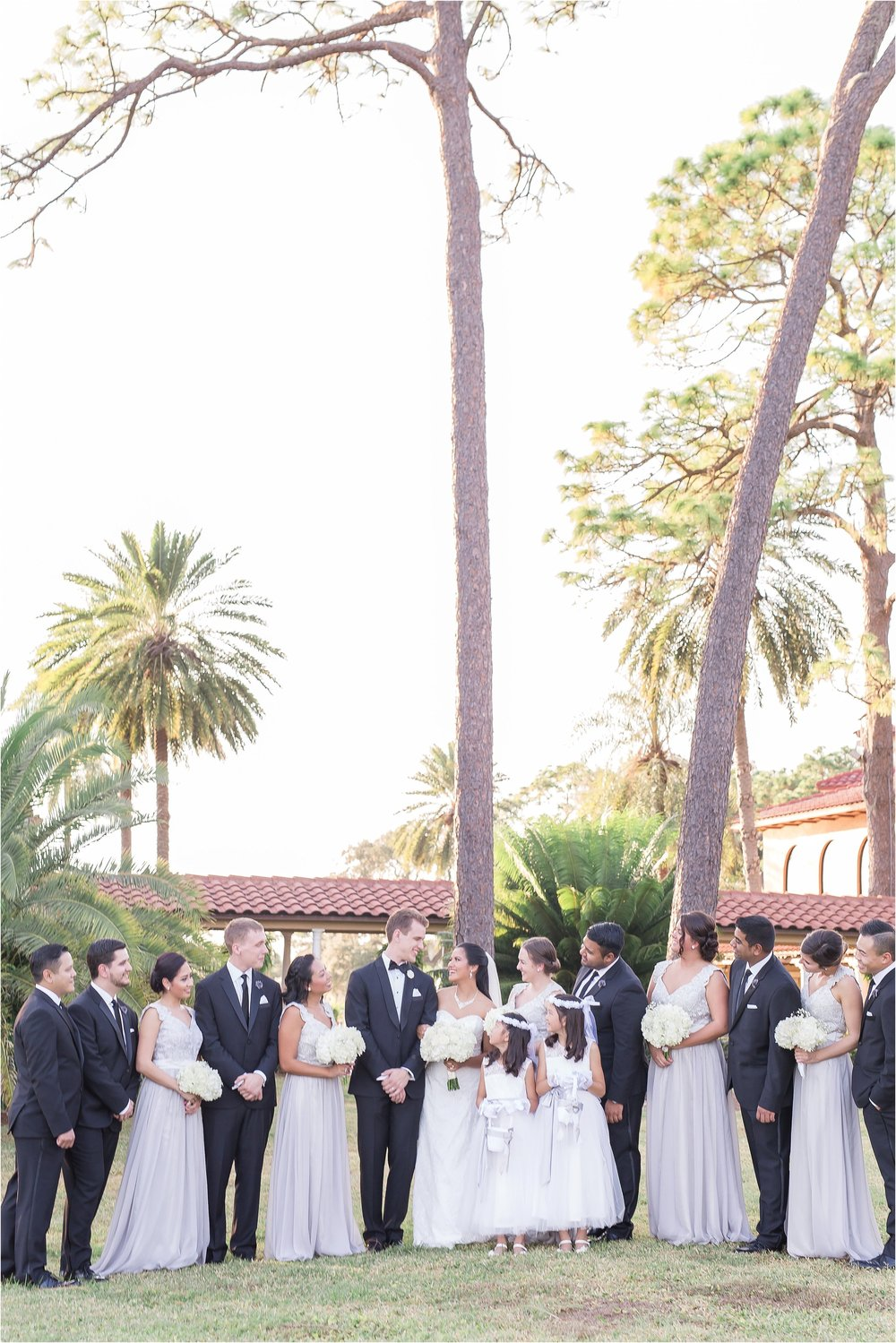 Tuxes and Light Grey Bridal Party at Mission Inn Wedding