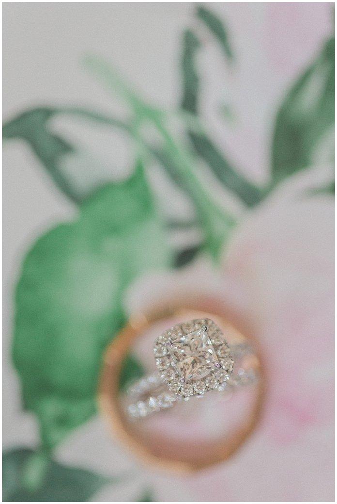 Daivd Yurman Halo Engagement Ring at floral wedding with diamond band and David Yurman Mens Wedding Band