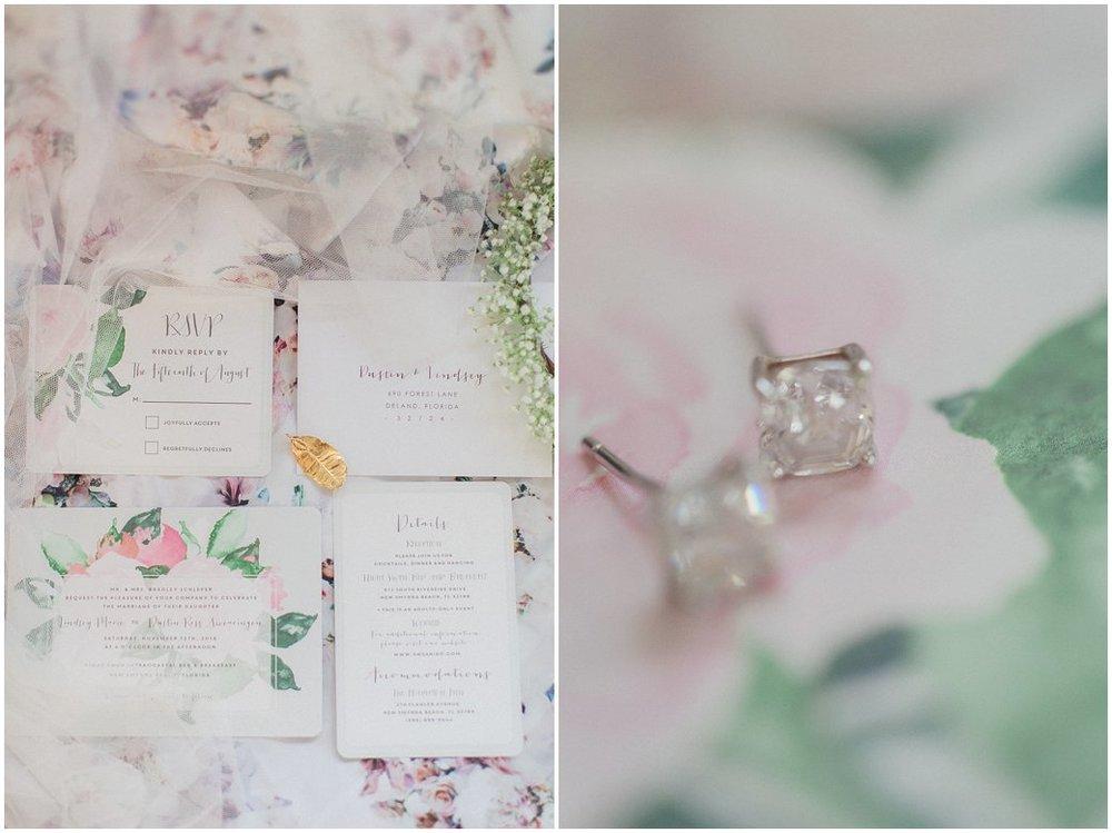 Floral bridal details - watercolor flower invitation suite.