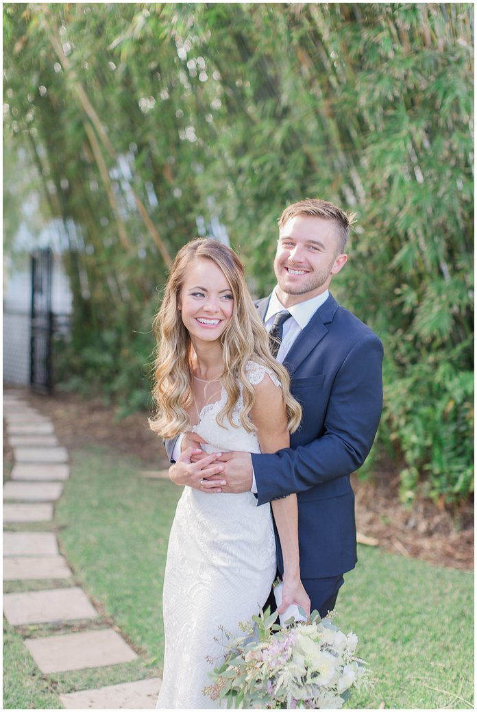 Capturing Laughter during Bride and Groom Portraits at Black Dolphin Inn - New Smyrna Wedding