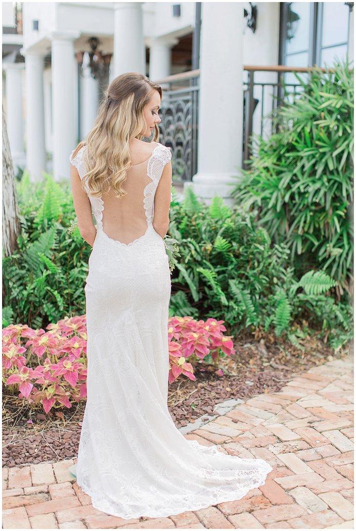 Bridal Portrait back of low cut lace dress - Black Dolphin Inn, New Smyrna Wedding