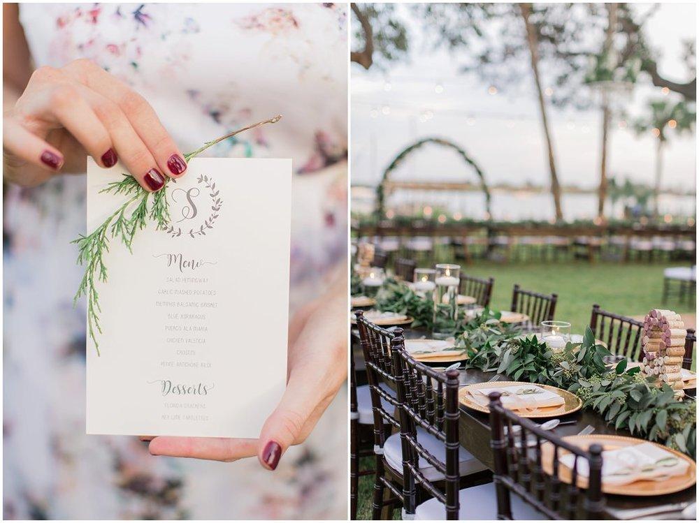 Reception Details - menu cards, farmhouse tables, show me your mumu