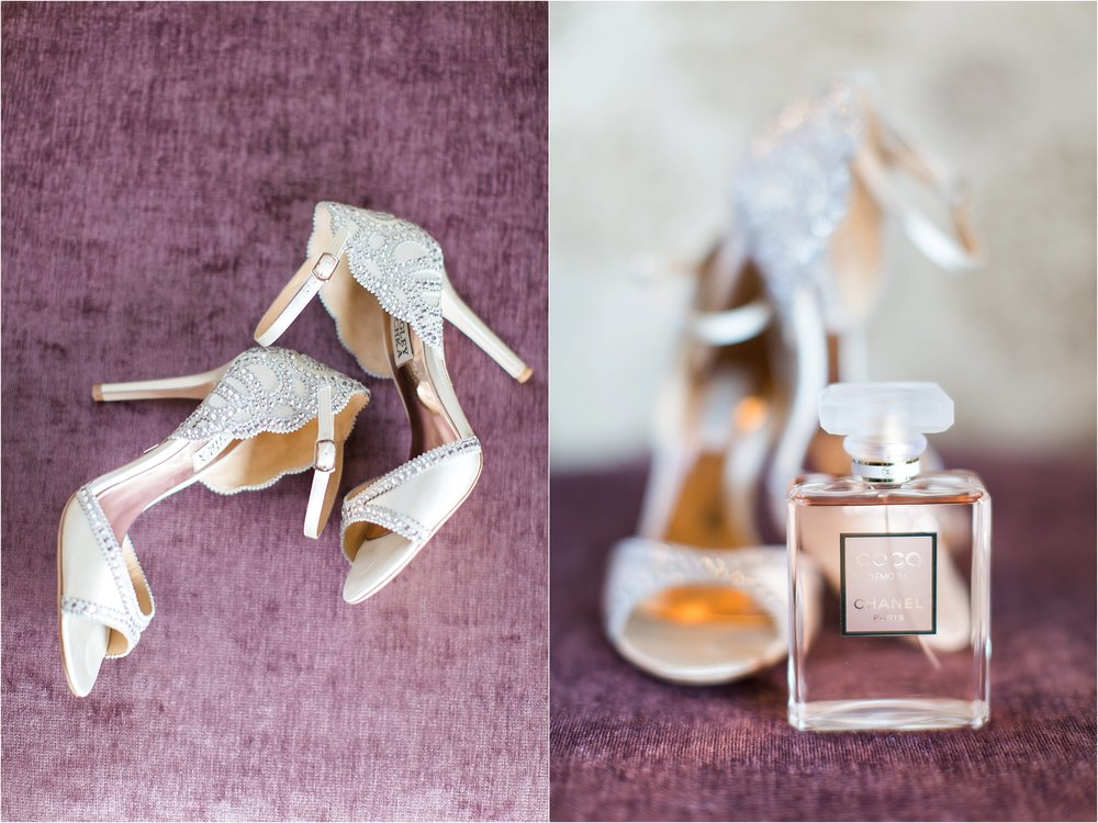 Badgley Mischka and Chanel bridal details at Wyndham Grand Resort at Bonnet Creek Wedding