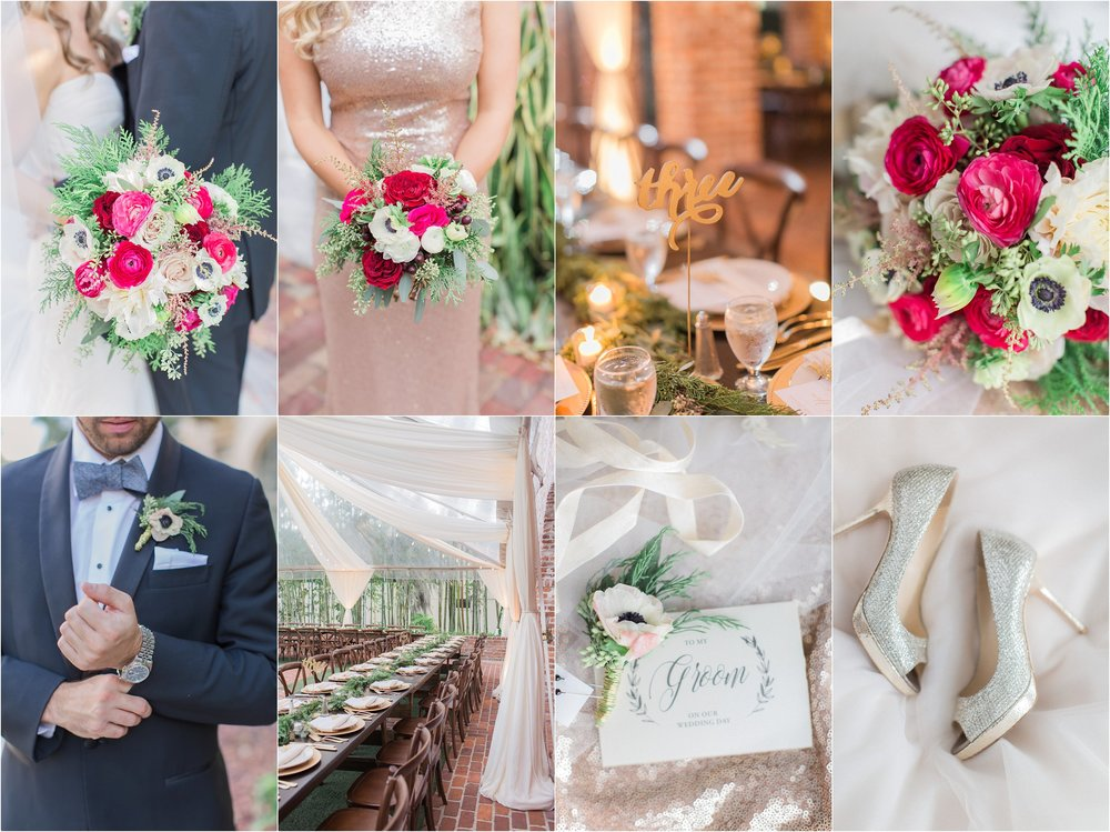 Winter Park Wedding at ALfond Inn and Casa Feliz cranberry and blush wedding details.  PSJ Photography by PJ Saffran