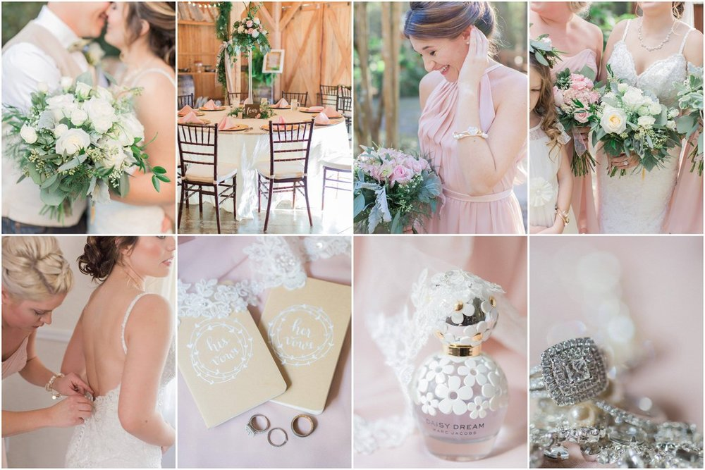 Bridal Oaks Barn wedding blush and white details