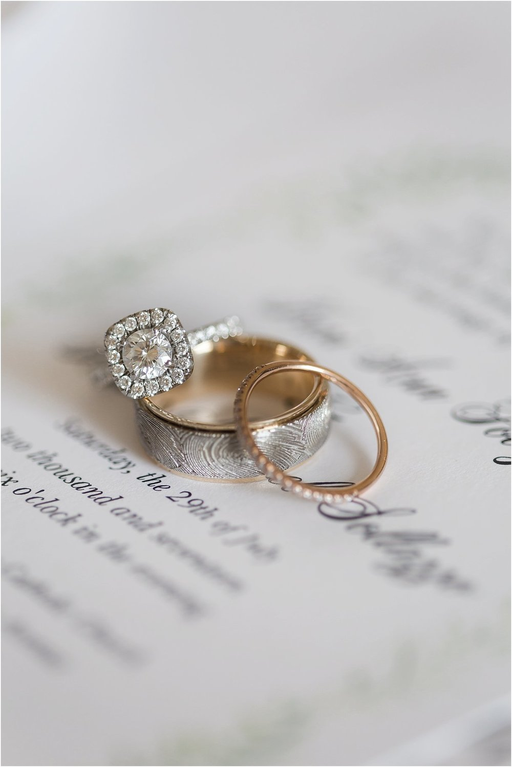 PSJ Photography-Oxford Exchange Wedding - Wedding Rings - Round Halo Cut - Finger print wedding band