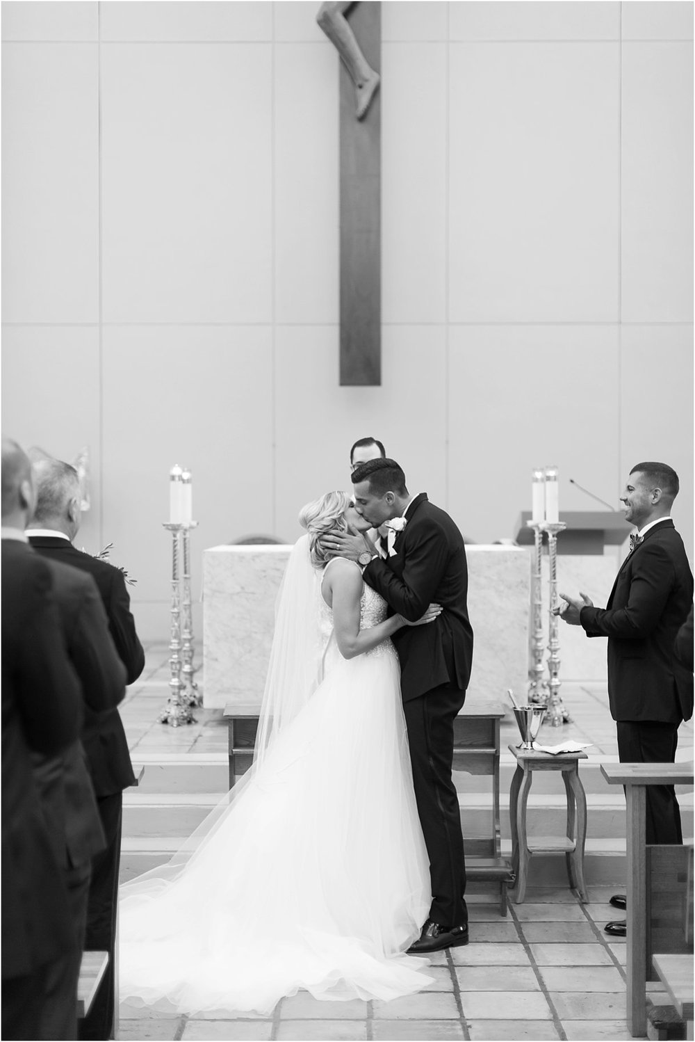 First Kiss at Oxford Exchange Wedding St Lawerence Catholic Church Tampa