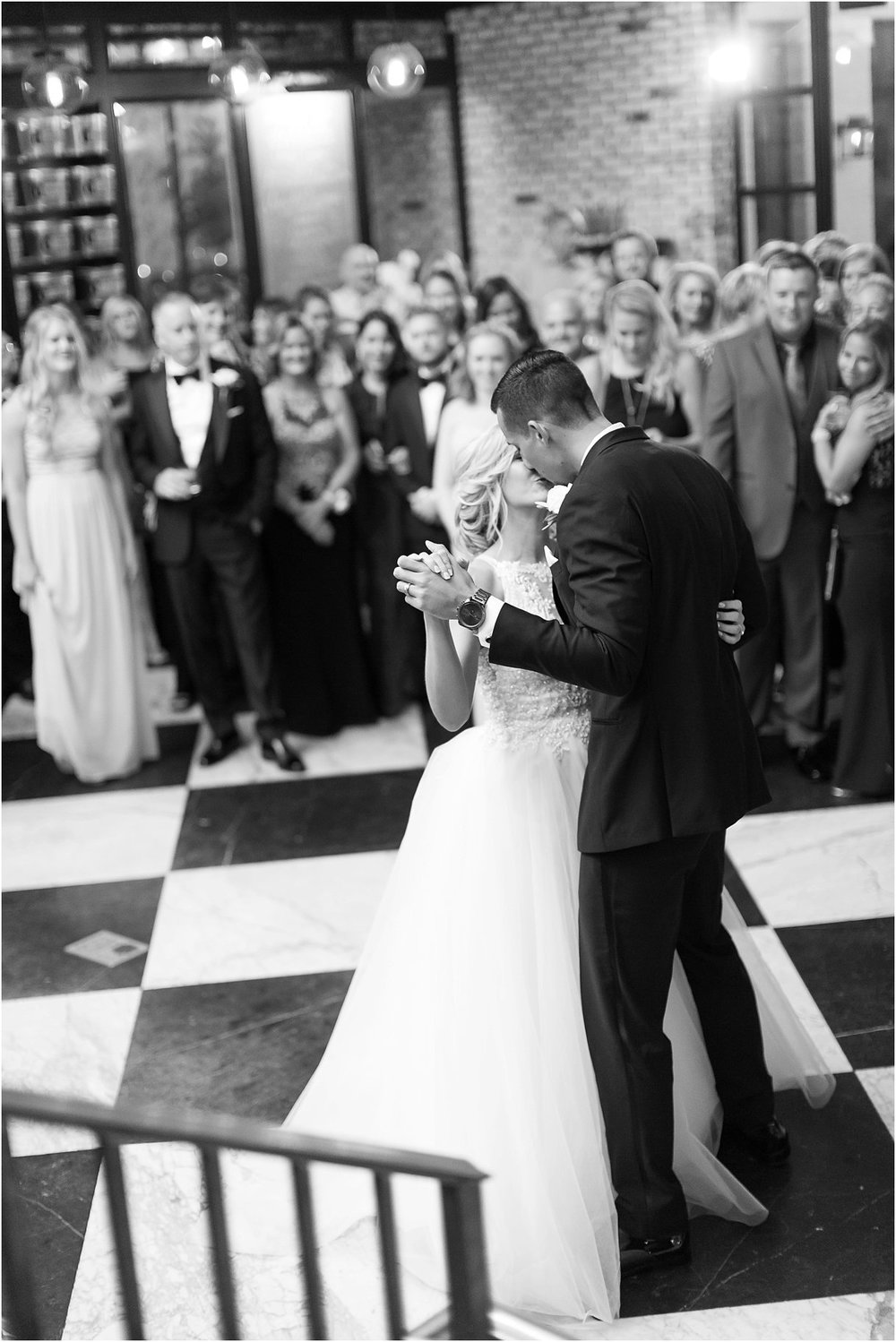 PSJ Photography- Oxford Exchange - Tampa Wedding- First Dance- Black and White Marble Floor