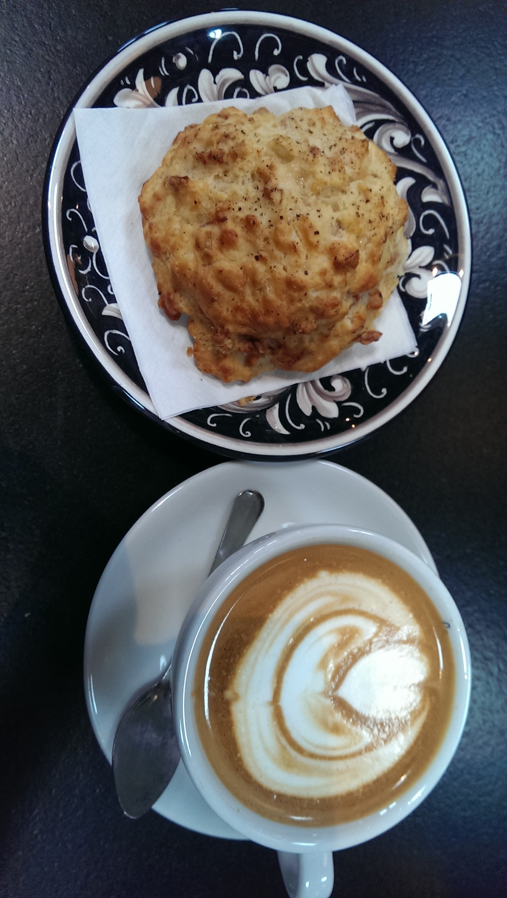 cappuccino and serrano ham biscuit
