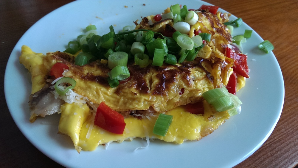 pancetta red pepper omlette
