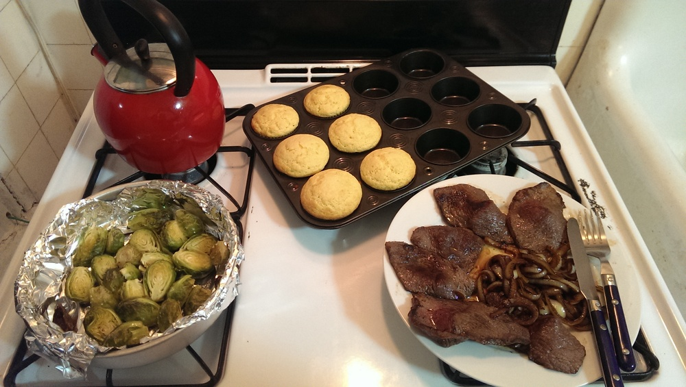 steak brussels sprout cornbread