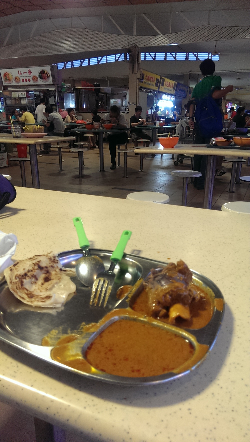 mutton shank and roti in food court