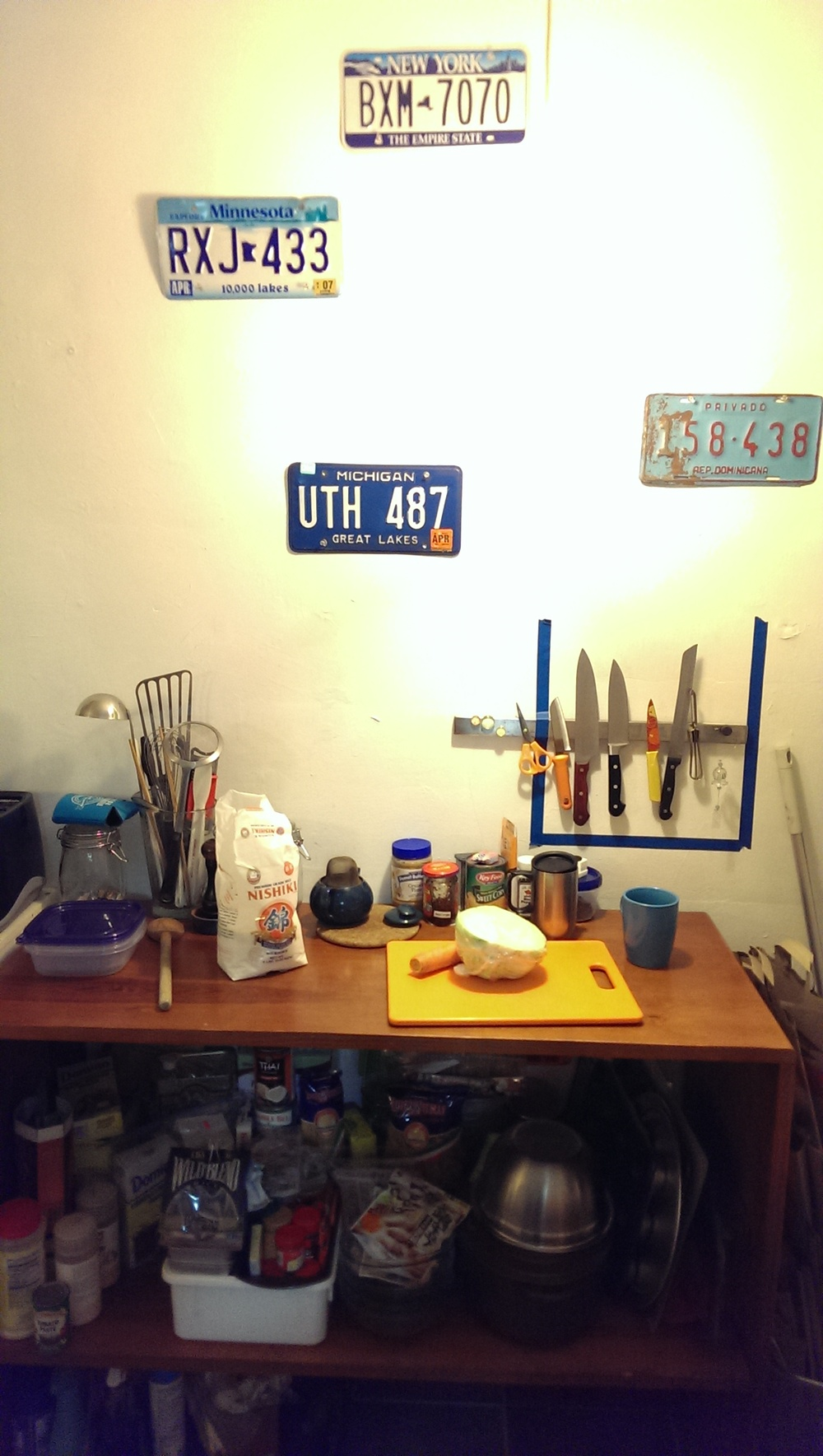 Kitchen workbench made custom to my height. My inanimate best friend.