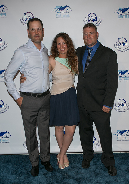 Israel equestrian teammates Elad Yaniv, Danielle Goldstein and Joshua Tabor at the T.E.A.M. Israel kickoff event.