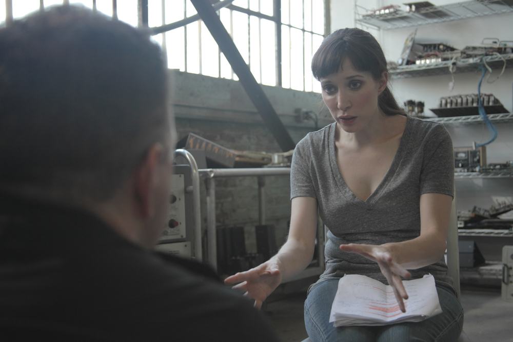 Fynn O'Hara discusses script notes with Writer & Director Jeff Roe (Photo: Dylan Sanford)