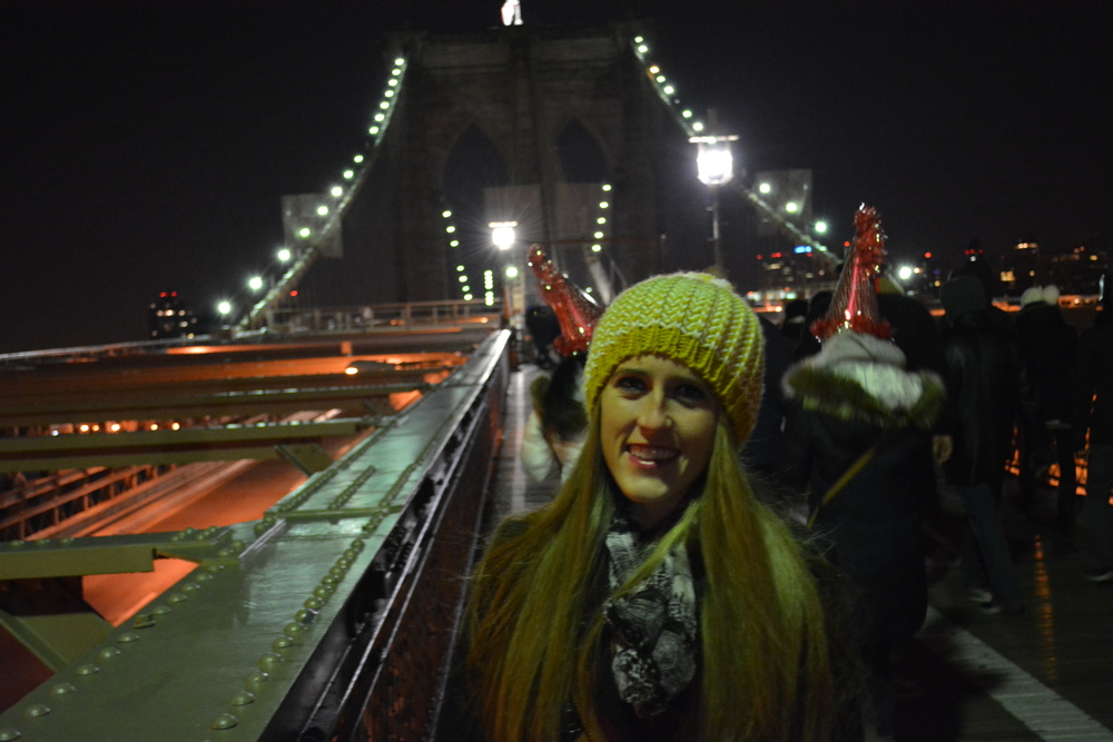 Rang in the New Year on the FREEZING Brooklyn Bridge watching fireworks in Staten Island and Prospect Park in Brooklyn!