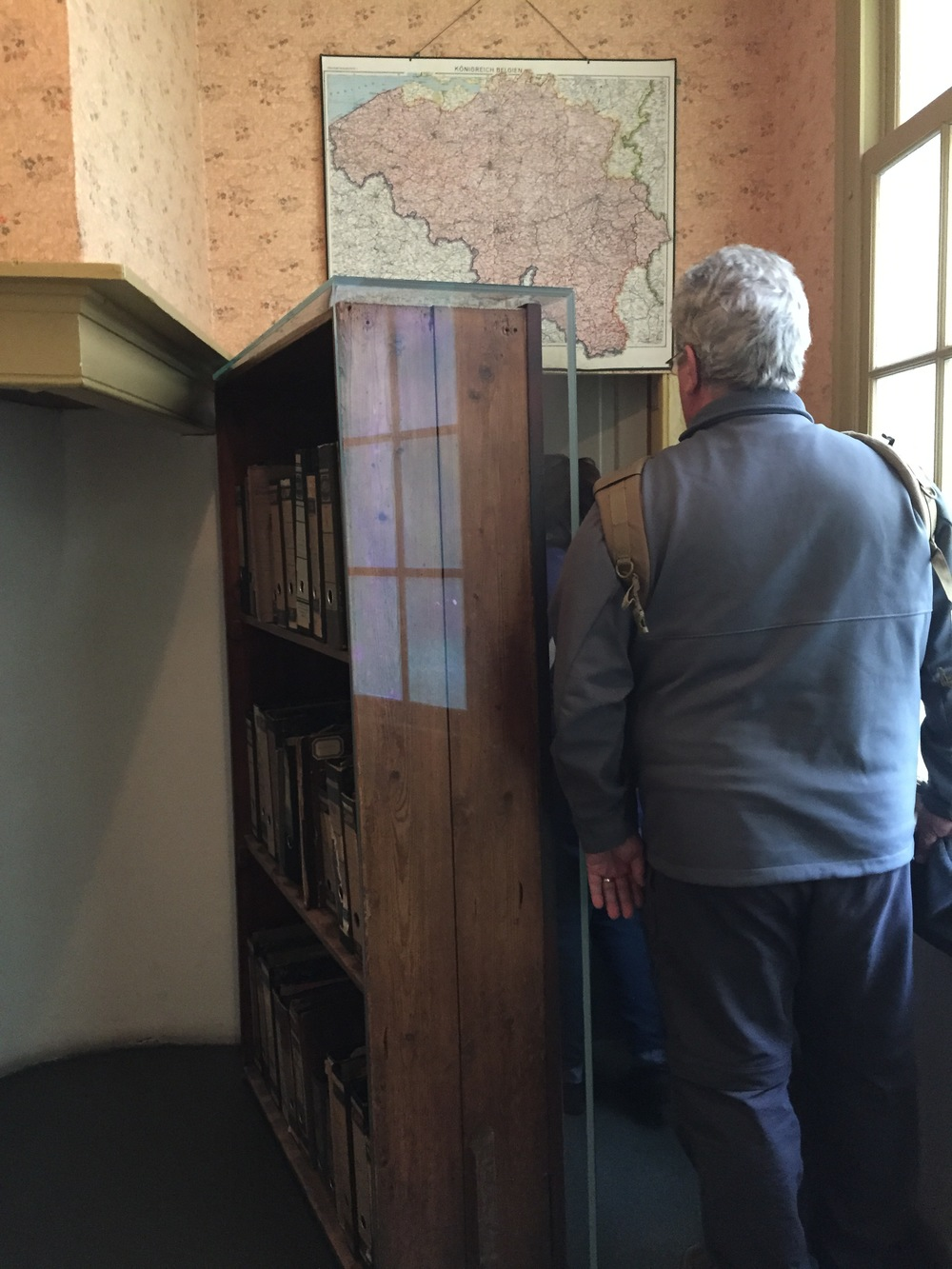 This was the ACTUAL bookcase that was a fake entryway into the Secret Annex upstairs. So cool that it was preserved. And also, this guy kept hitting people with his bag! HAHA!