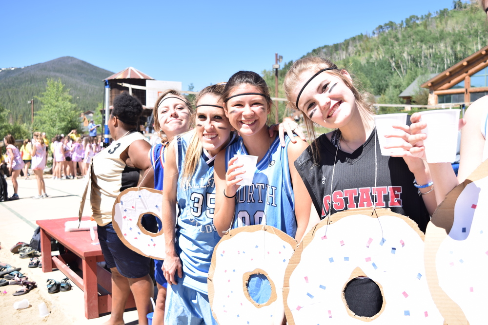 """This was our first day and our Volleyball tournament where my girls were the """"Dunkin Doughnuts"""" HOLLA!! PINNACLE BEAS (don't ask but that's our cabin name)"""