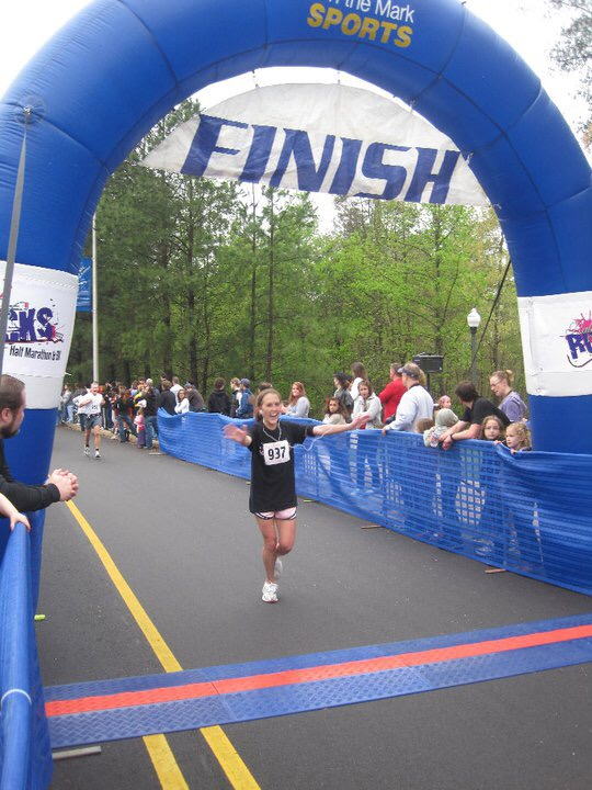 My first half marathon finish line!
